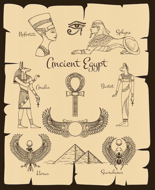 Símbolos del antiguo egipto. esfinge y nefertiti, horus y scarabaeus, religión tradicional, ilustración vectorial vector gratuito