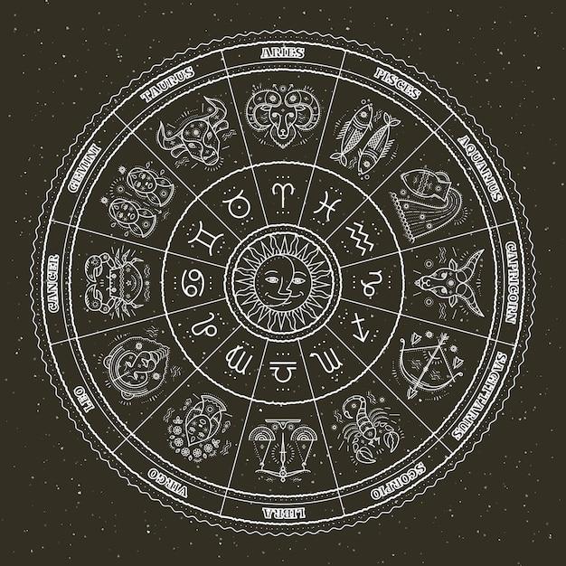 Símbolos astrológicos y signos místicos. círculo del zodiaco con signos del horóscopo. linea fina . Vector Premium