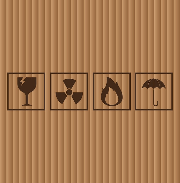 Símbolos de cartón, ilustración vectorial vector gratuito