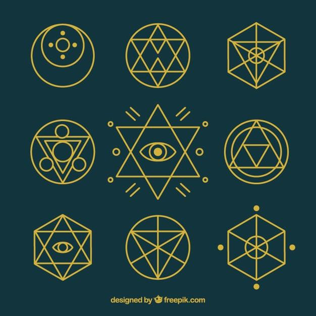 Simbolos De Alquimia Con Contorno Dorado 853277