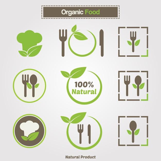 Símbolos de cocina orgánica. plantilla de logotipo de restaurante ...