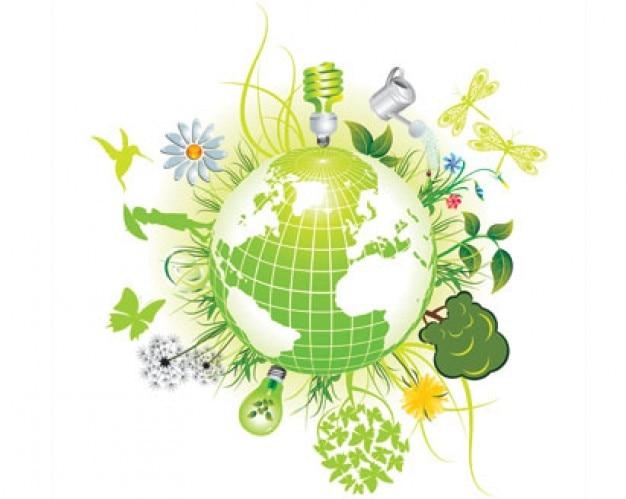 símbolos de color verde ecológico Vector Gratis