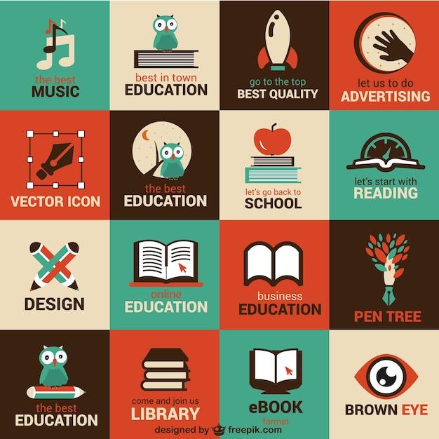 Símbolos de educación y ciencia Vector Gratis