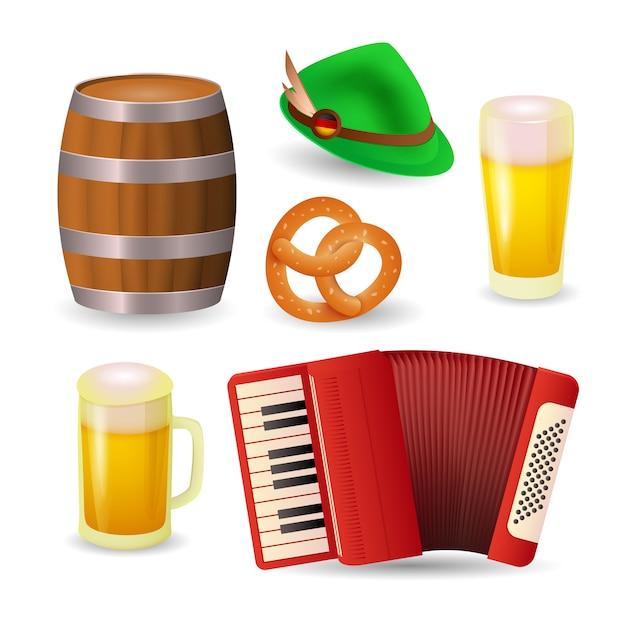 Símbolos del festival de la cerveza en alemania vector gratuito