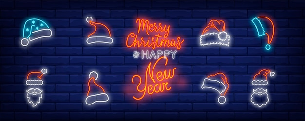 Símbolos de gorro navideño en estilo neón vector gratuito