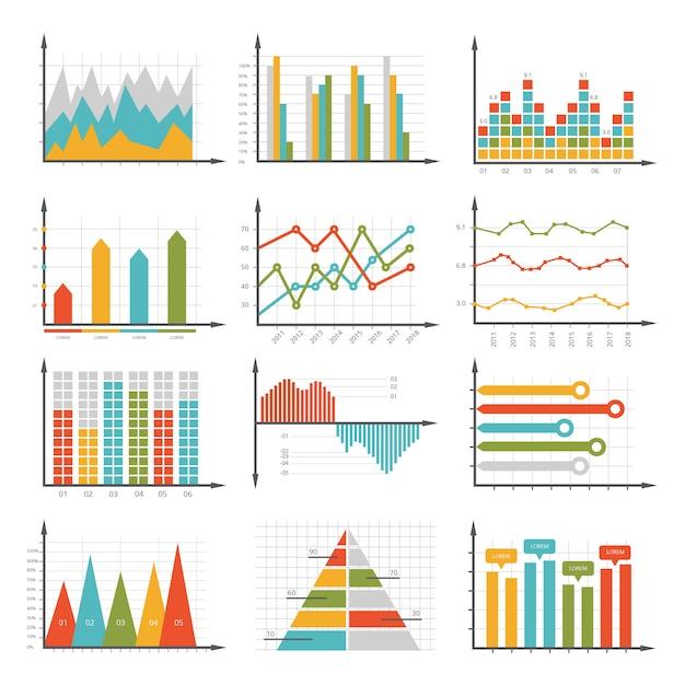 Símbolos de infografía. conjunto de gráficos y diagramas de negocios Vector Premium