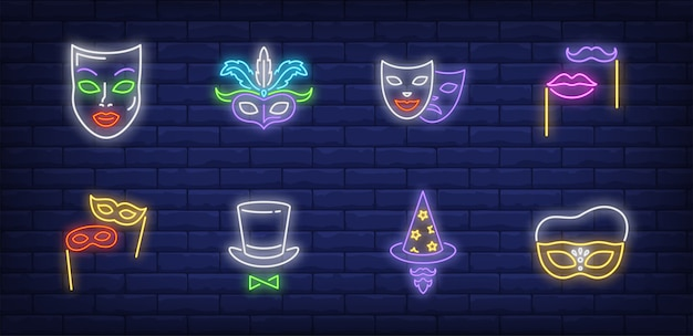 Símbolos de mascarada en estilo neón vector gratuito