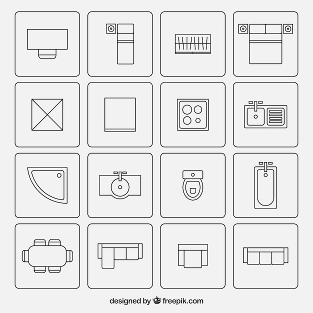 Símbolos de muebles usados en los planos de arquitectura vector gratuito