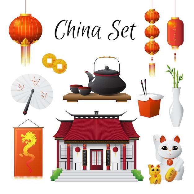 Símbolos nacionales clásicos de la cultura china establecidos con arroz al vapor linterna roja vector gratuito