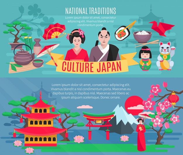 Símbolos nacionales japoneses tradiciones e información sobre la cultura para turistas banners horizontales planos vector gratuito