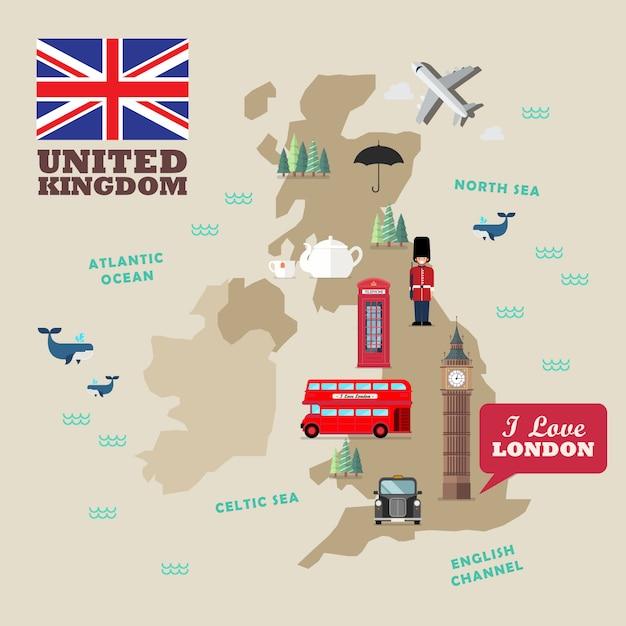 Símbolos nacionales del reino unido con mapa Vector Premium