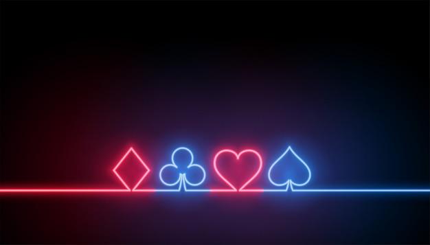Símbolos de neón del fondo de naipes de casino vector gratuito