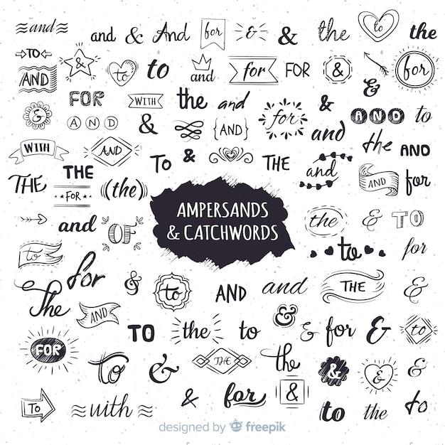Símbolos & y palabras claves de boda vector gratuito