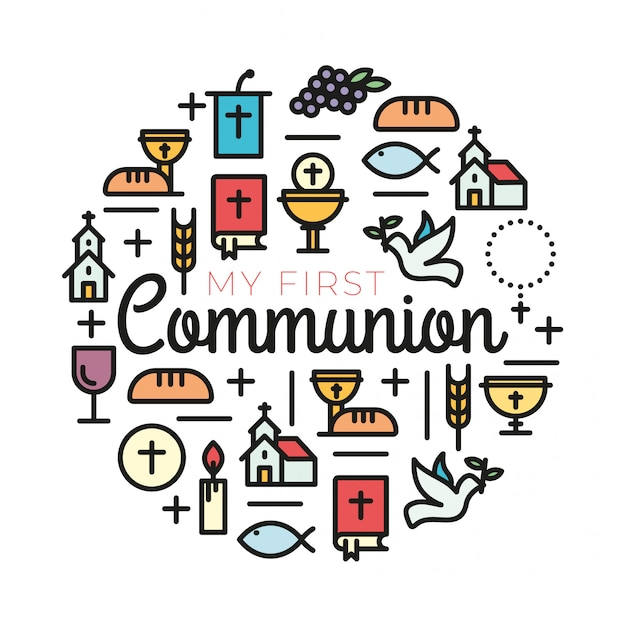 Símbolos De La Primera Comunión Para Un Bonito Diseño De Invitación