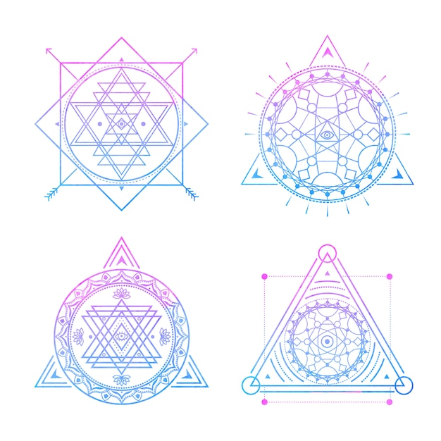 Símbolos sagrados en acuarela azul-violeta. v Vector Premium