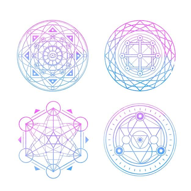 Símbolos sagrados en acuarela azul-violeta. Vector Premium