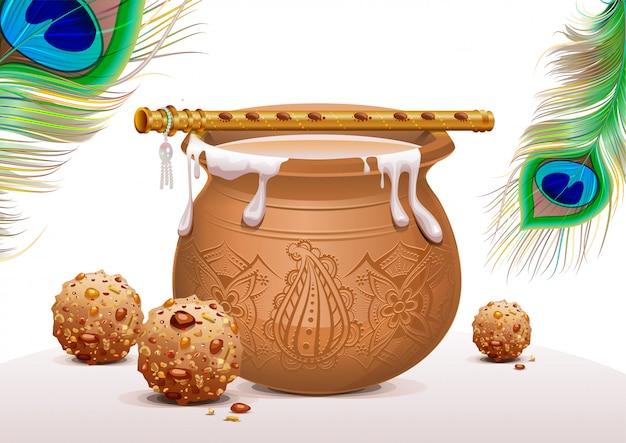 Símbolos de vacaciones krishna janmashtami, olla de yogur, pluma de pavo real, flauta y dulces Vector Premium