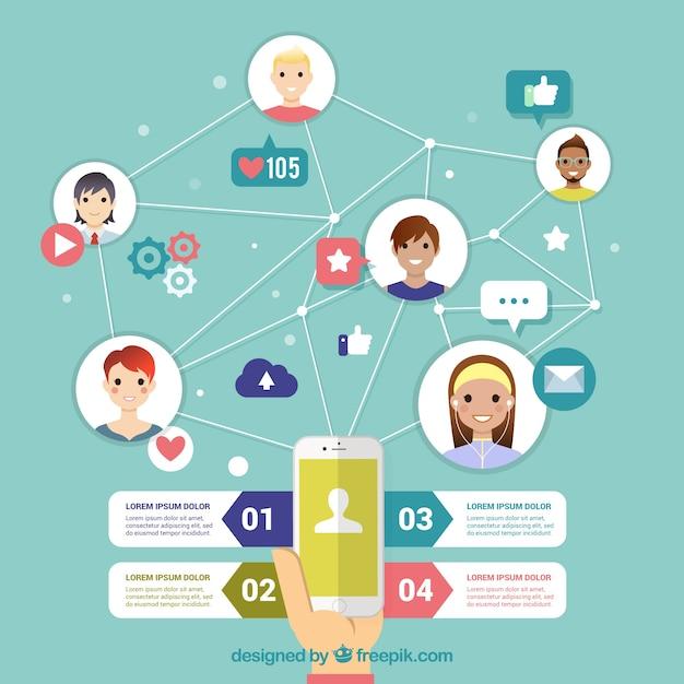 Simpática infografía de redes sociales en diseño plano  Vector Gratis