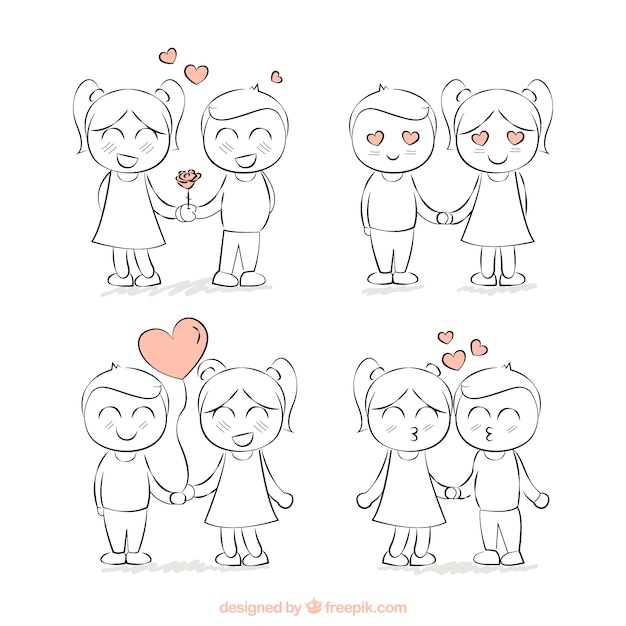 simp u00e1tica pareja de amantes dibujada a mano