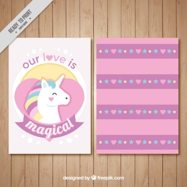 Simpática Tarjeta De Amor Con Un Unicornio Vector Gratis