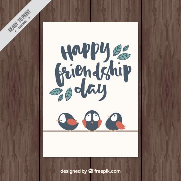 Simpática tarjeta del día de la amistad vintage con pájaros  Vector Gratis