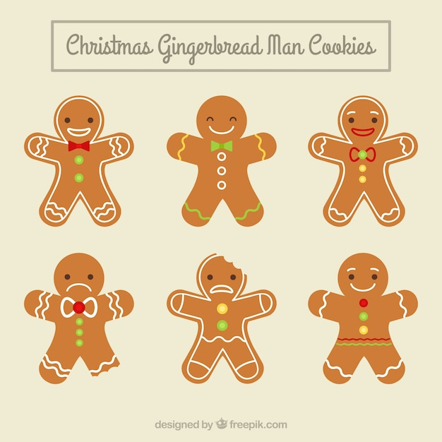 Simpáticas galletas de muñecos de jengibre vector gratuito