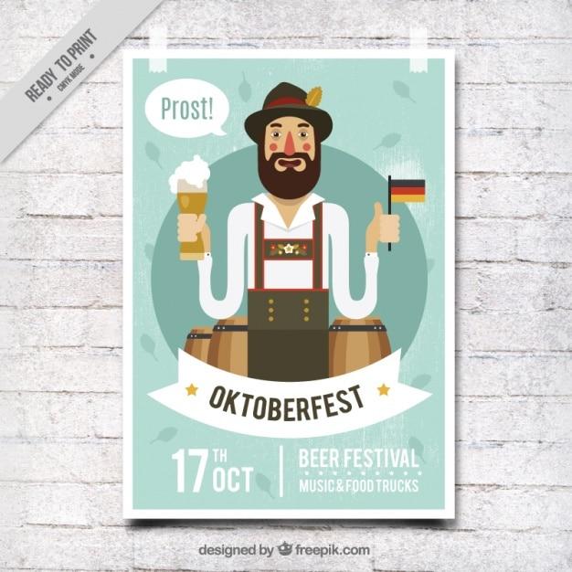 Simpático cartel de festival oktoberfest en estilo vintage vector gratuito