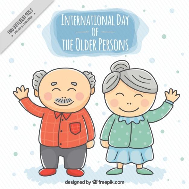 Simpático fondo de abuelitos saludando dibujados a mano  c0a892cdecec1