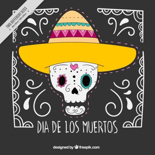Simpático Fondo De Calavera Mexicana Con Sombrero Descargar