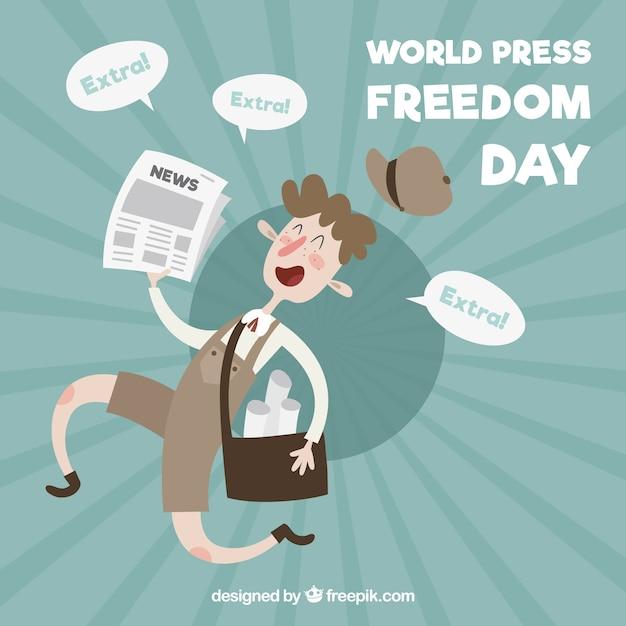 Simpático fondo del día de la libertad de prensa vector gratuito