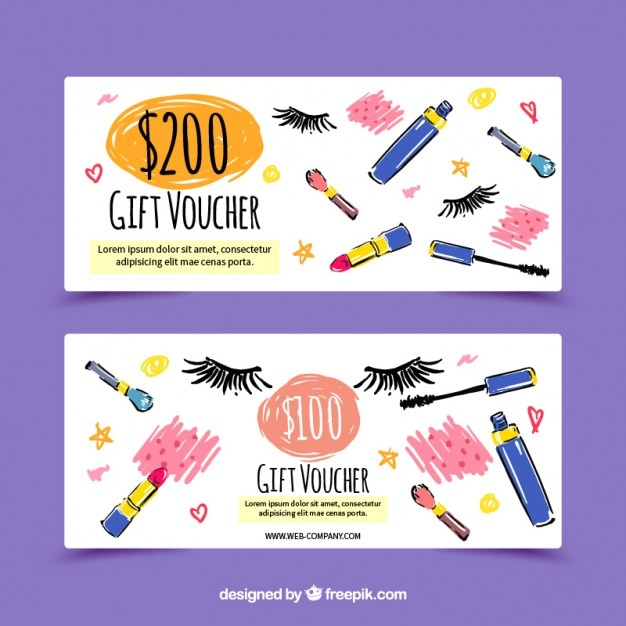 Simpáticos banners de rebajas de belleza pintados a mano vector gratuito