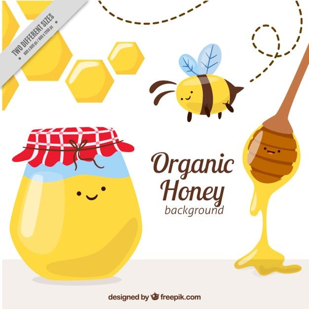 Simpáticos elementos de miel ecológica vector gratuito