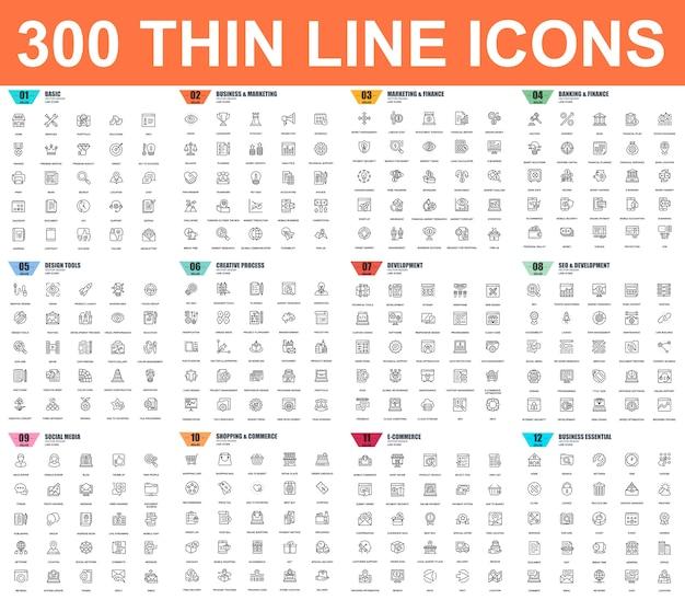 Simple conjunto de iconos de vector delgada línea. 48x48 pixel perfect. paquete de pictogramas lineales Vector Premium