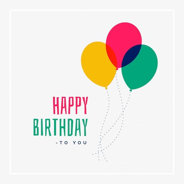 Simple saludo de feliz cumpleaños diseño vector gratuito