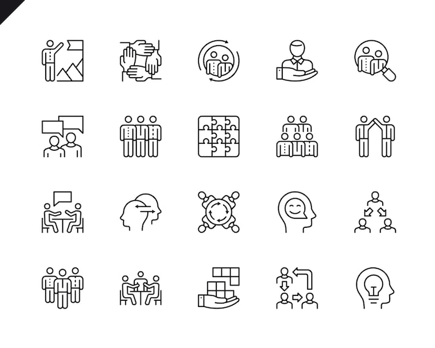Simple set of teamwork related vector line icons. Vector Premium