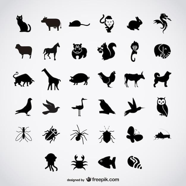 Simples siluetas aves vector gratuito