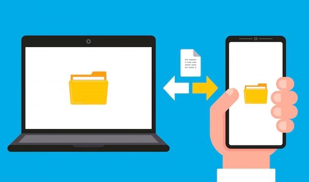 Sincronización de datos y documentos en una computadora y un teléfono inteligente. Vector Premium