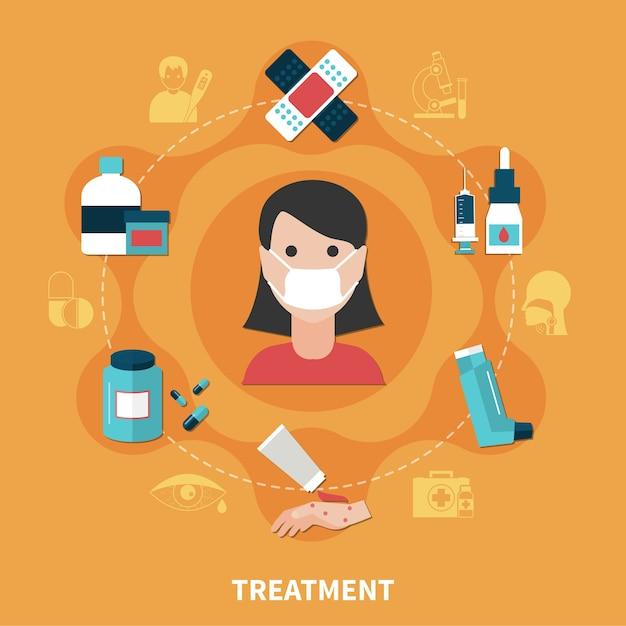 Síntomas de alergia y diversas formas de concepto de tratamiento. vector gratuito