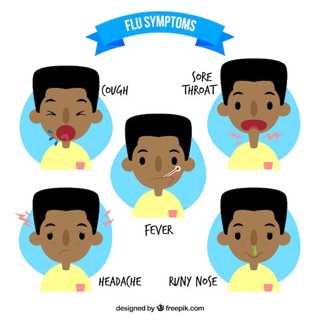 Síntomas de la gripe paquete vector gratuito
