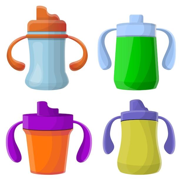 Sippy cup icons set, estilo de dibujos animados Vector Premium