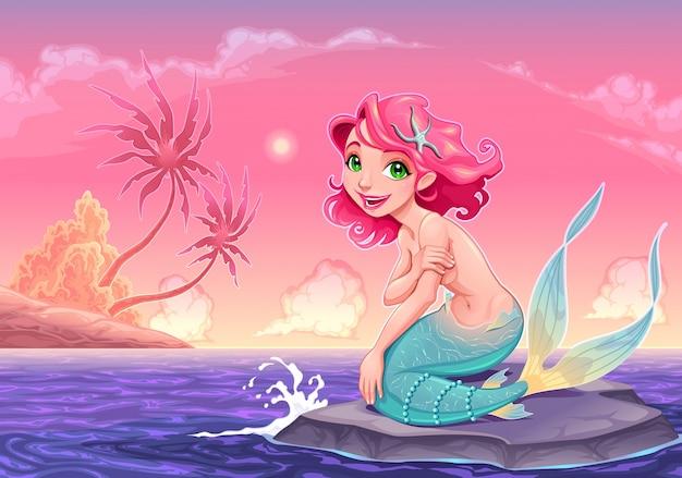 Sirena joven cerca de la orilla del vector ilustración de dibujos animados vector gratuito