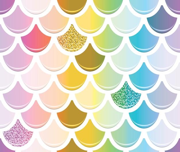 Sirena moda de patrones sin fisuras con elementos de oro brillo. Vector Premium
