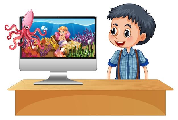 Sirena en la pantalla de la computadora vector gratuito