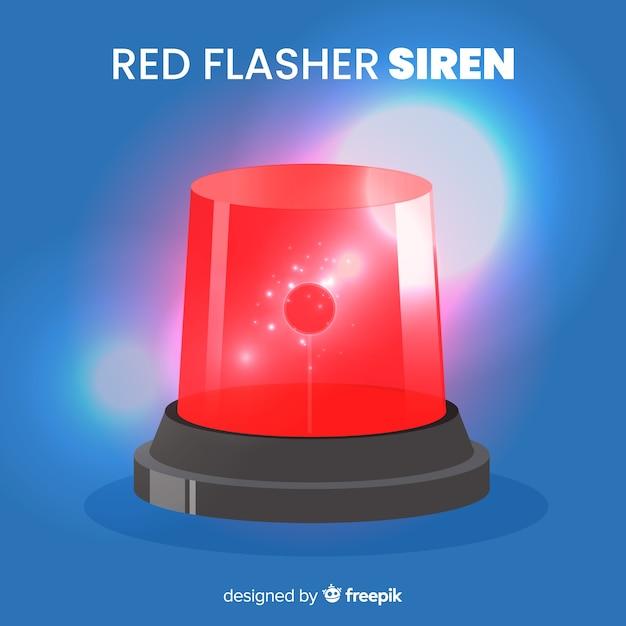 Sirena roja brillando vector gratuito