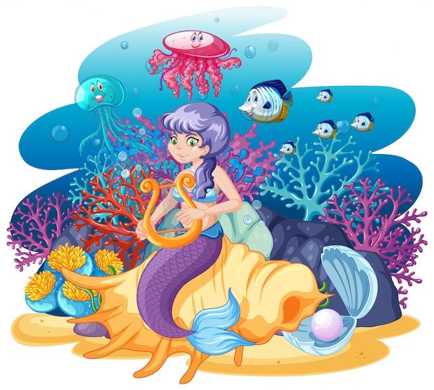 Sirena sentada sobre concha y animal marino en estilo de dibujos animados vector gratuito