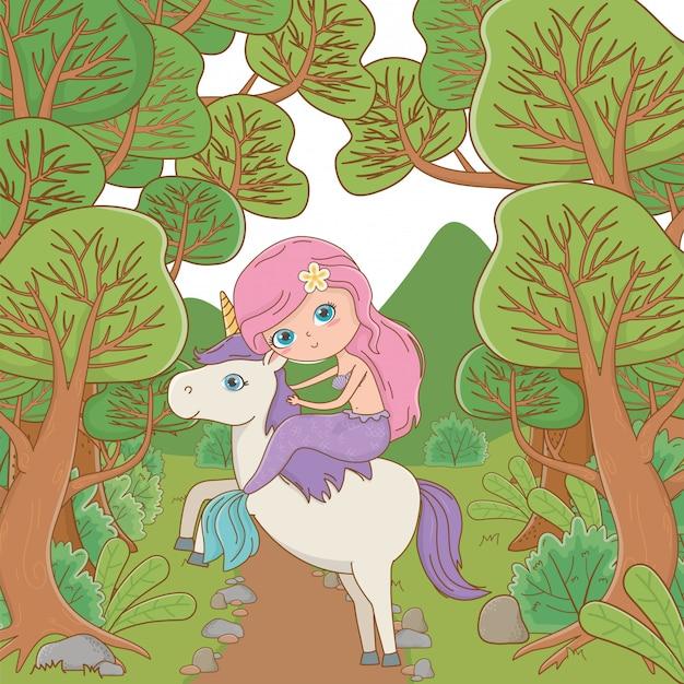 Sirena y unicornio de cuento de hadas. vector gratuito