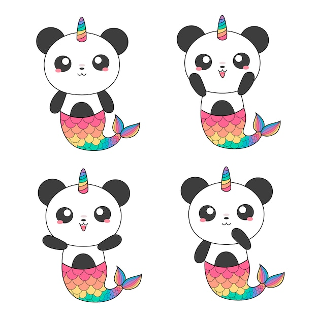 Sirenas de pandas mágicos Vector Premium