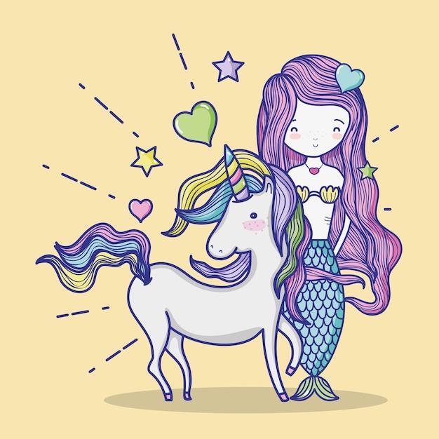 Sirenita con dibujos animados de arte unicornio