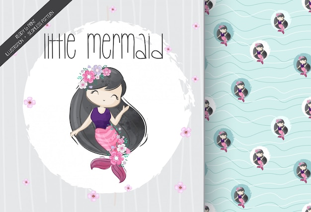 Sirenita linda niña con patrones sin fisuras Vector Premium