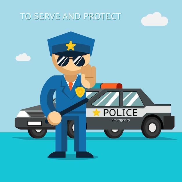 Sirve y protege. el oficial de policía se para frente al coche de policía. hombre de seguridad, coche y oficial, policía, vector gratuito
